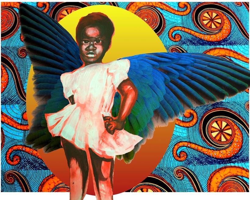 Bluebird Girl centered 5 points mural mock up